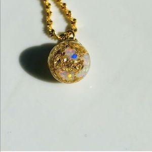 Floating Opal and 24k gold globe Pendant/Necklace